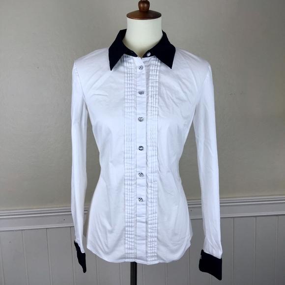 da54f4e6773 INC International Concepts Tops - INC White Black Tuxedo Button Up Blouse  Size 8